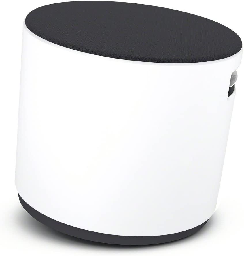 Turnstone Buoy Stool: Arctic White Base - Tornado Buzz2 Upholstery