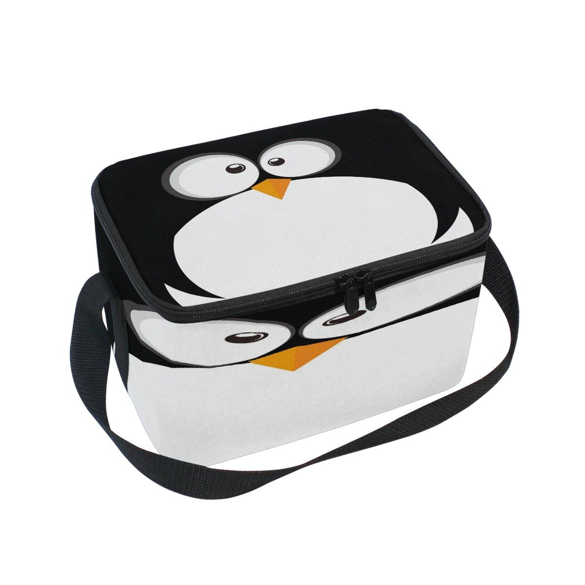 Use7Pingouin Visage Noir Sac à déjeuner Isotherme Sac fourre-Tout Cooler Lunch Box pour Pique-Nique d'école Femme Homme Enfants