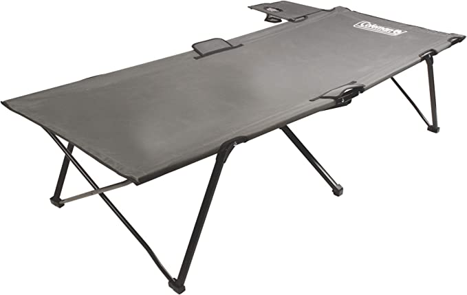 Coleman Folding Camping Cot with Side Table and Cup Holder