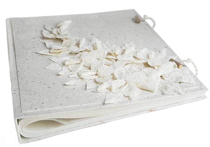 Handgemachtes Fotoalbum Blumen Weiße, Klassische Seiten mit Geschenktüte (33cm x 40cm)