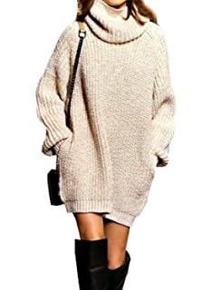 Pullover Largo Mujer Elegantes Moda Jersey Largo Otoño Invierno con  Bolsillos Color Sólido… 7131f07bad7b