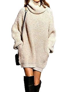 Pullover Largo Mujer Elegantes Moda Jersey Largo Otoño Invierno con  Bolsillos Color Sólido… e23e64bfcec0