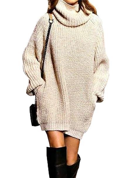 4b88e95d8b53f Pullover Largo Mujer Elegantes Moda Jersey Largo Otoño Invierno con  Bolsillos Color Sólido Cuello Alto Manga Larga Basic Anchos Sudaderas  Pullover Punto ...