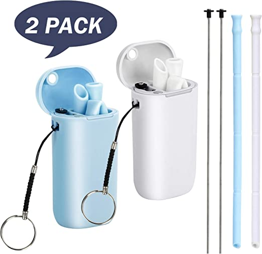 BLUE Reusable ECO-Friendly Fold Straw Collapsible With Key Carrying Case