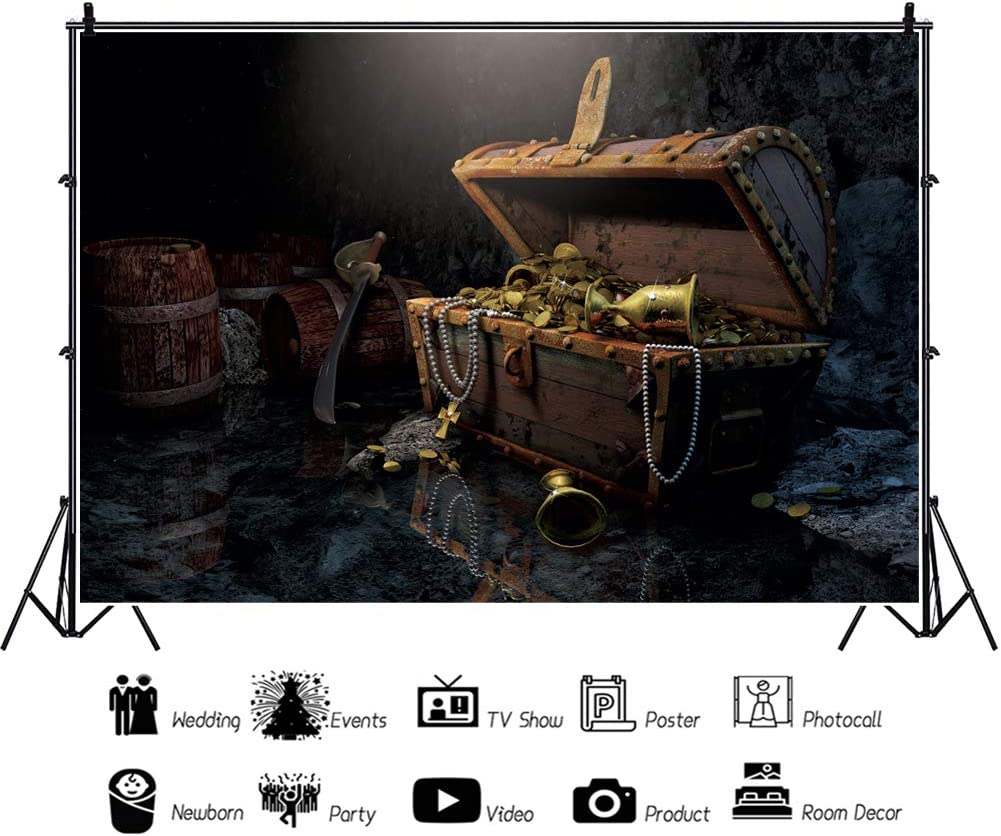 YEELE Treasure Chest Backdrop 10x8ft Pirates Treasure in a Dark Cave Photography Background Medieval Adventure Kids Adults Portrait Photoshoot Props Digital Wallpaper