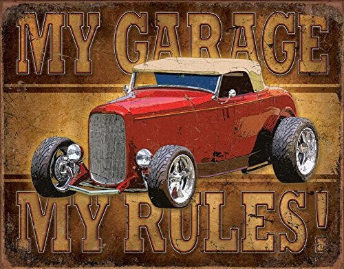 Poster Discount Hot Rod Tin Metal Sign : My Garage My Rules, 16x13 ()