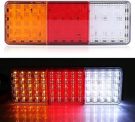 accesorios para remolque de luz trasera intermitente de 12 V tipo remolque marcha atr/ás luz de freno Juego de 2 faros traseros LED impermeables para remolque Folconauto
