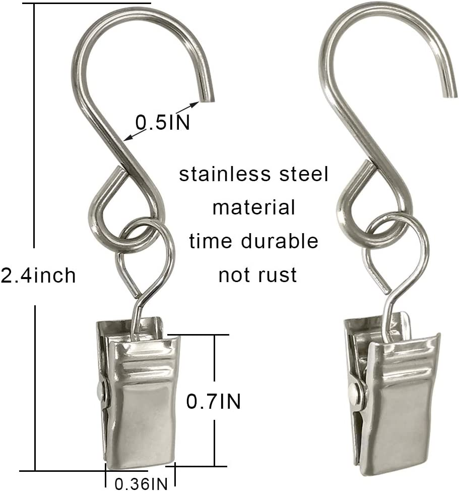 Art Craft Display Hangers Gutter Photo Camping Tents AMZSEVEN Stainless Steel S Hooks Curtain Clips 50 Pack Hanging Party Lights Clips Garden Courtyards Indoor Outdoor Decoration. Black