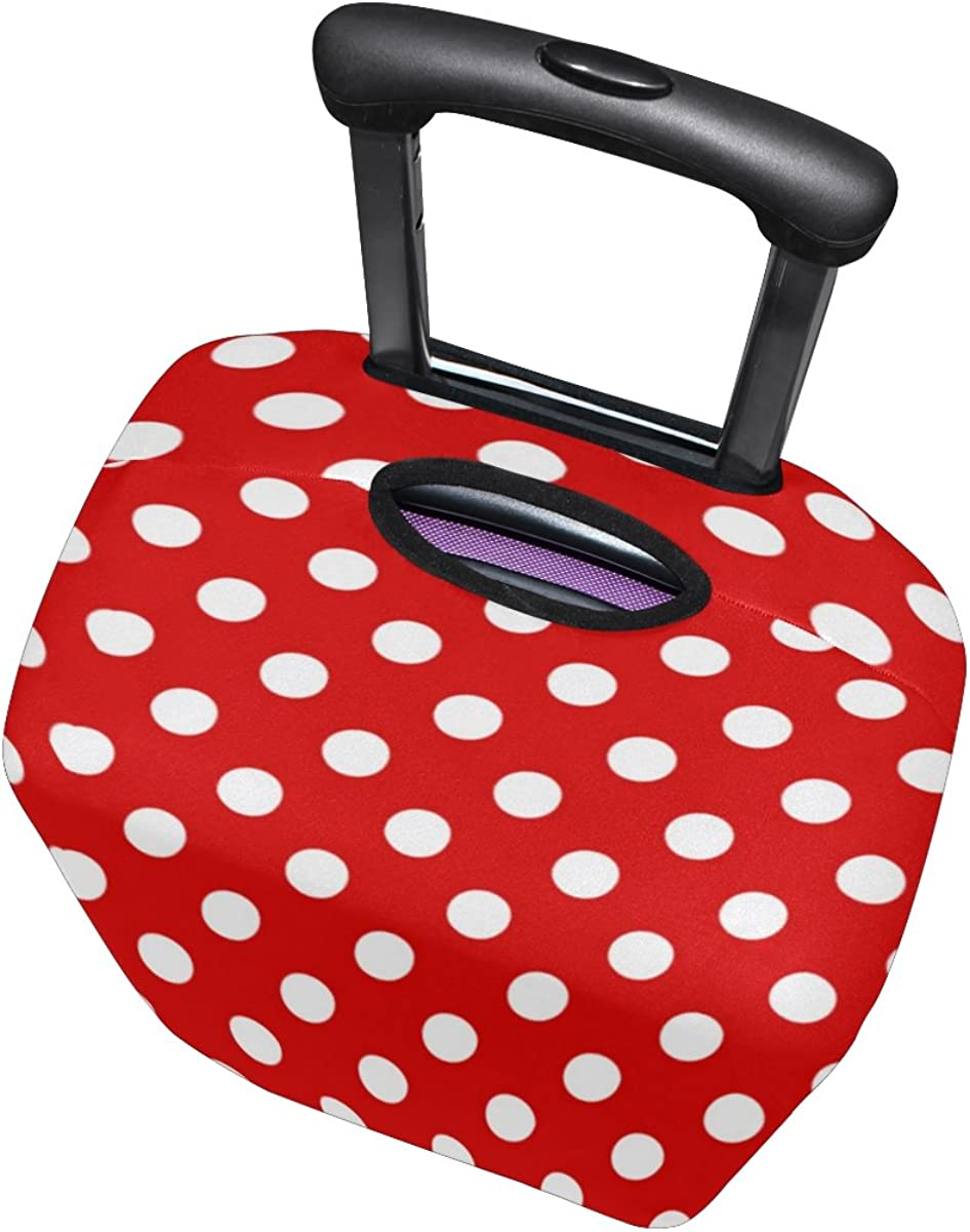 U LIFE Vintage Red Polka Dots Luggage Suitcase Cover Protector for Travel