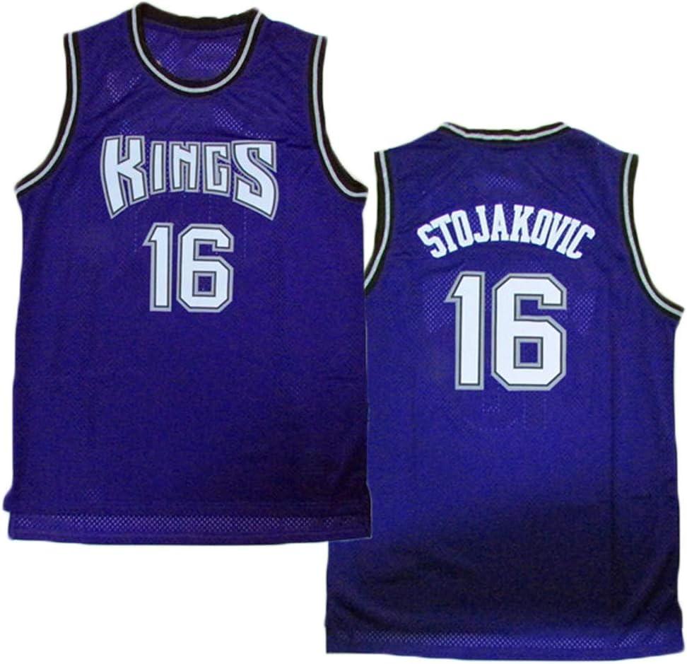 LITBIT Baloncesto Masculino Jersey Sacramento Kings 16# Stojakovic Transpirable de Secado r/ápido sin Mangas del Chaleco Top Sport,P/úrpura,S 170cm//50~65kg