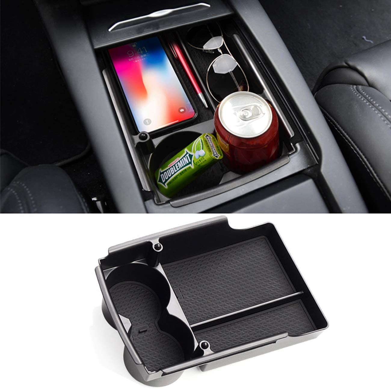 Jaronx for Tesla Model S/Model X Center Console Storage Box, Insert Organizer Tray+Cup Holder (Fit: Tesla Model S/Model X 2020 2019 2018 2017 2016)-Upgraded Tesla Model X/S Accessories