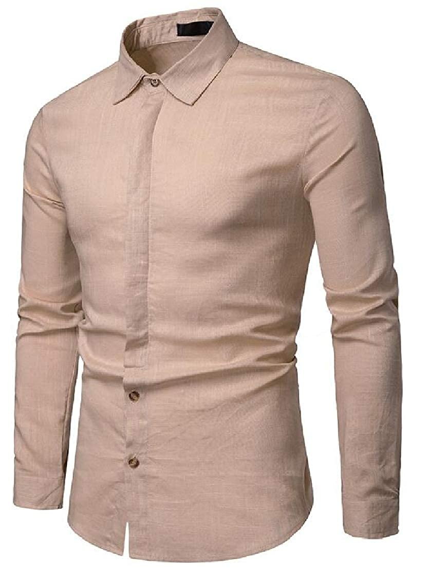 Wofupowga Mens Casual Long Sleeve Slim Linen Business Solid Color Shirts