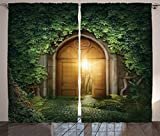 Ambesonne Fantasy House Decor Curtains, Sun seen Through Mysterious Half Opened Wooden Entrance With Greenery, Living Room Bedroom Decor, 2 Panel Set, 108 W X 84 L Inches, Green Brown For Sale