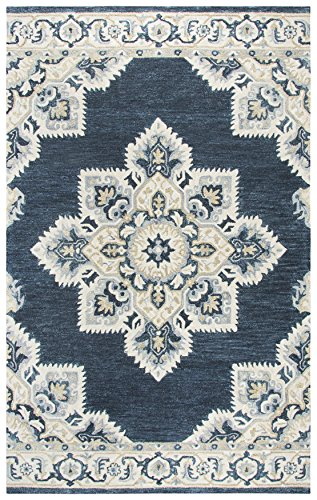 Rizzy Home Resonant Collection Wool Area Rug, 5 x 8 , Dark Blue Natural Gray Tan Central Medallion