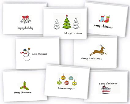 Amazon.com : Set of 24 Christmas Cards Bulk Boxed Xmas Cards, Cute ...