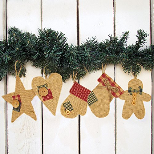 jubilee creative studio set of 5 cute burlap christmas holiday shape ornaments by - Burlap Christmas Decorations For Sale