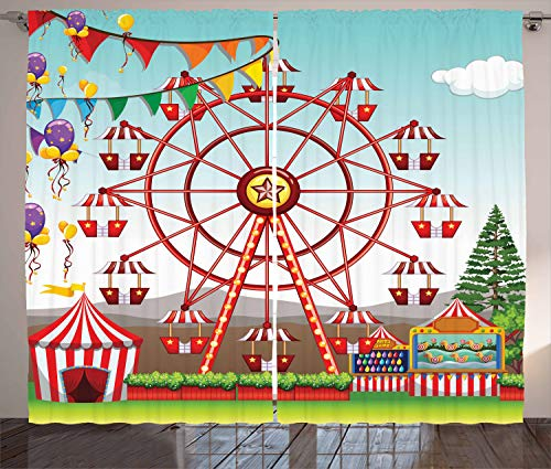 Ambesonne Circus Decor Collection, Ferris Wheel at the Amusement Park Illustration Distant Hills Flower Pots Image, Living Room Bedroom Curtain 2 Panels Set, 108 X 90 Inches, Red Purple Yellow ()
