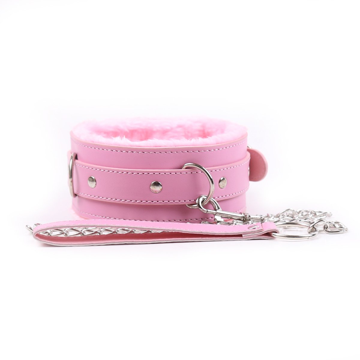 DERENHER Adjustable Faux Fur Lined Choker Pink Pvc Leather Neck Collar and Leash Kit (Pink) by DERENHER (Image #2)