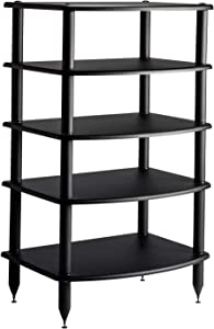 Pangea Audio Vulcan Five Shelf Audio Rack (Black) Media Stand, and Components Cabinet