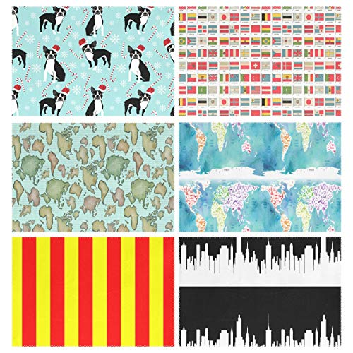 Placemats Set of 6, Boston Terrier Peppermint Stick Candy Canes Winter Snowflakes Dog Vintage World Flags Wondering Around Worldmap Blue Sea Yellow Red Vertical Stripes Tulsa Black Dining Table Mats f ()