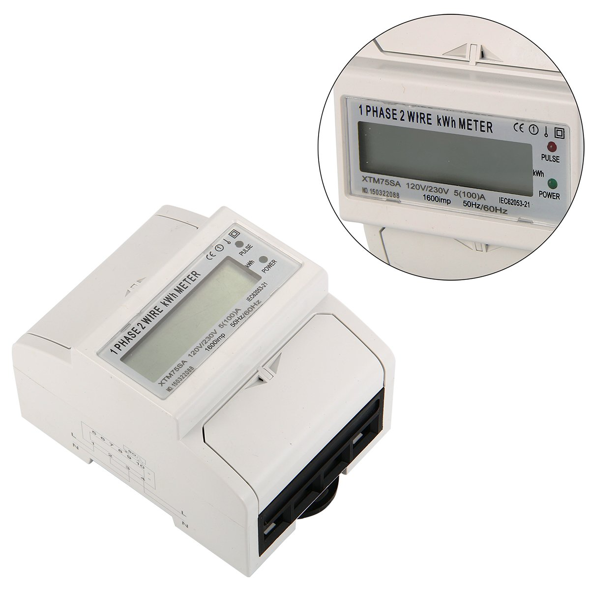 XCSOURCE Kilovatio-hora Metros Monof/ásico Metros Energ/ía 100A DE DIN-Rail Power Meter BI104