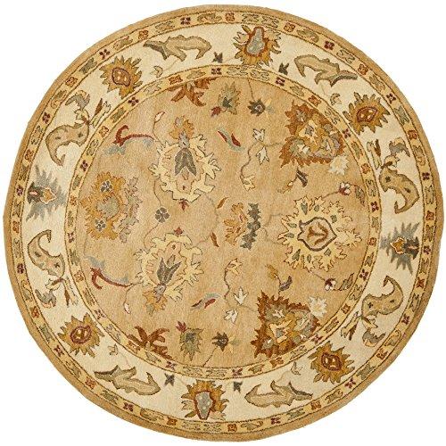 Bergama Runner Rug - Safavieh BRG136A-8R Bergama Collection Handmade Wool Round Area Rug, 8' Diameter, Taupe/Ivory
