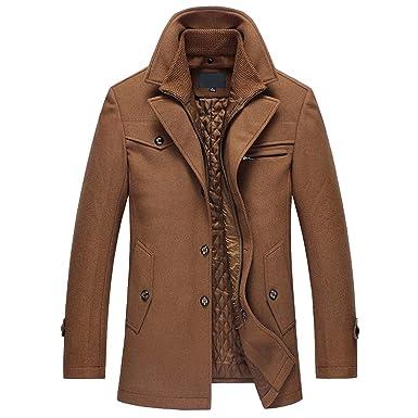 YOUTHUP Manteau Homme Slim fit Casual en Laine Caban Parka Hiver Chaud  Simple Manche Longue Elégant  Amazon.fr  Vêtements et accessoires cffb1856d745