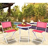 Giantex 3 PCS Folding Bistro Table Chairs Set Garden Backyard Patio Outdoor Furniture (Red)