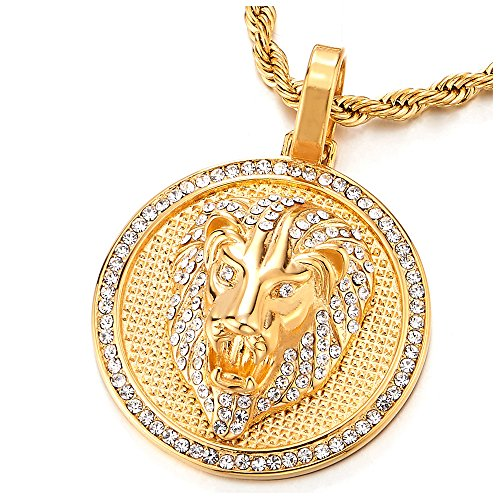 - COOLSTEELANDBEYOND Mens Womens Steel Gold Color Lion Head Circle Pendant Necklace with Cubic Zirconia