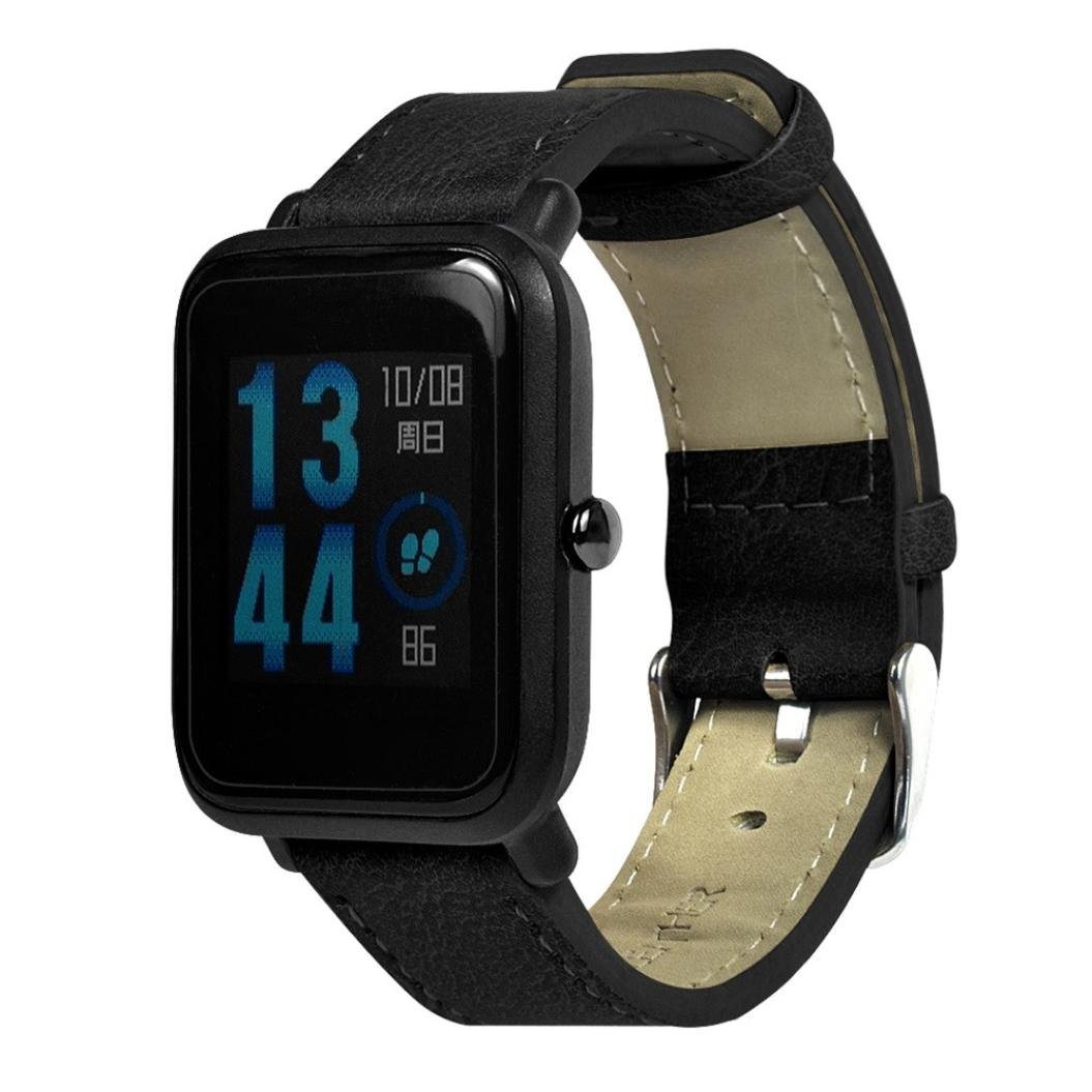 For AMAZFIT Watch Replacement Band, SUKEQ Retro Soft Leather Strap Wristband Bracelet For Xiaomi Huami Amazfit Bip Youth Watch (Black)