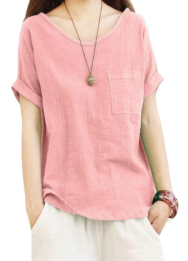 0e6598ddb2 KLJR Women Solid Color Plus Size Loose Fit Cotton Linen Summer Short Sleeve  Blouse Top T-Shirt at Amazon Women s Clothing store