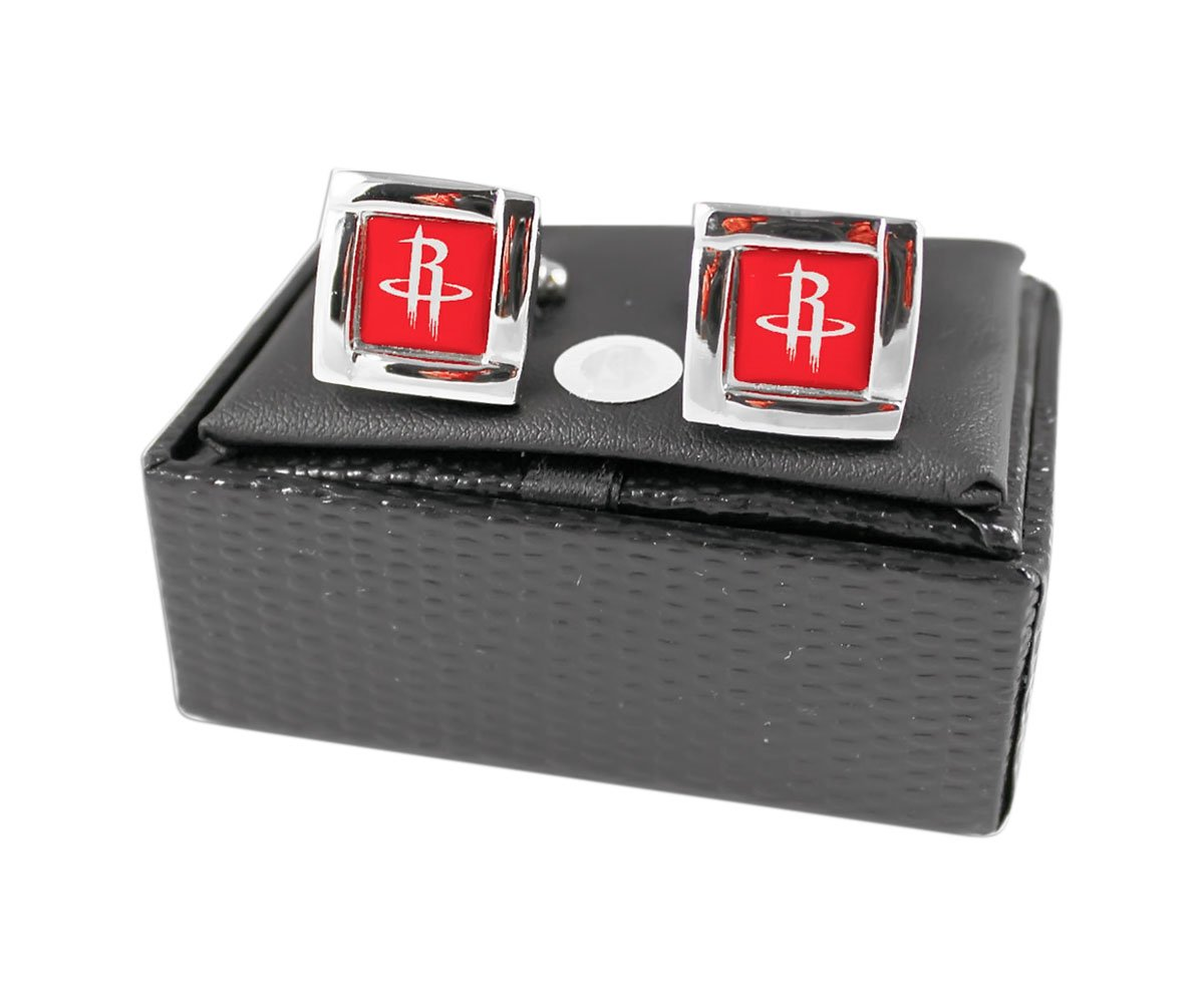 Houston Rockets NBA Sports Fan Team Logo Square Engraved Design Mens Shirt Cufflinks Gift Box Set