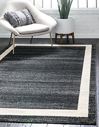 Black Transitional Rug - Unique Loom Del Mar Collection Contemporary Transitional Black Area Rug (3' 3 x 5' 3)