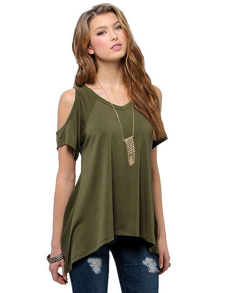 Bestgift Womens Fashion Solid Off Shoulder T-shirt Tank Top BSGFDR0905-1M