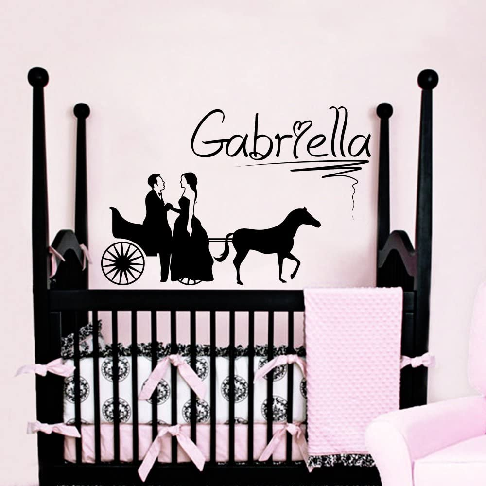 Wall Decals Personalized Name Princess Prince Horse Carriage Vinyl Sticker Nursery Room Bedroom Decal Baby Boy Girl Home Decor Art Murals DA3748