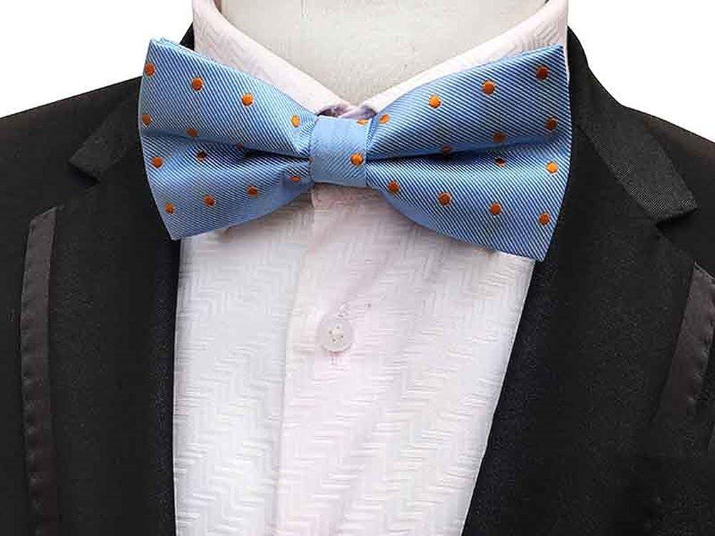 Mens Blue Orange Polka Dots Pre-Tied Bowtie Wedding Bow Tie /& Pocket Square Set