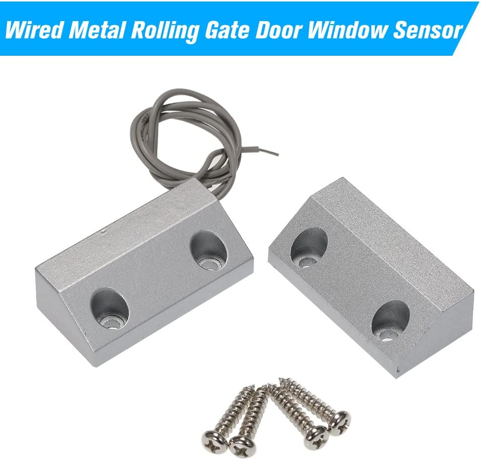 OWSOO Wired Metal Rolling Gate Door Window Sensor Magnetic Contacts Alarm Reed Switch Detector for Alarm Access Control System