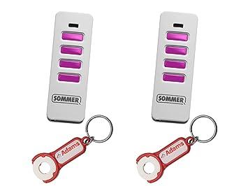 Weiss//Pink 2er Pack 1 St/ück ADAMS Schl/üsselanh/änger//Einkaufschip Sommer Handsender Pearl 4018 868Mhz SOMloq2