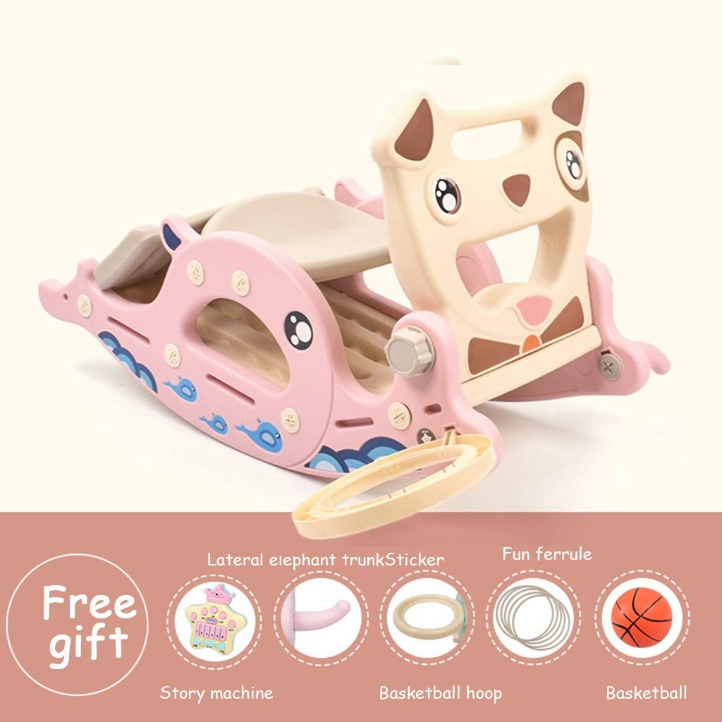 PINK 9 Friendship Shop- Kid Multi-Function Rocking Horse, Music Slide Toy Wooden Horse Rocking Chair (color   bluee, Size   8)