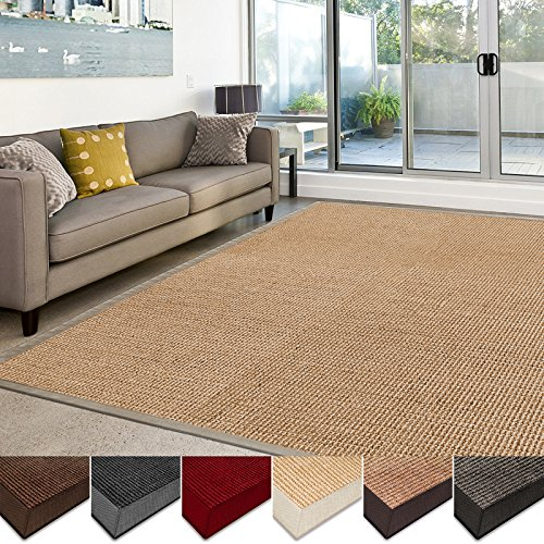 casa pura Sisal Rug | 100% Natural Fiber Area Rug | Non-Skid Eco-Friendly Throw Carpet for Entryway, Dining or Living Room | Various Colors and Sizes | Natural - 4'x6'