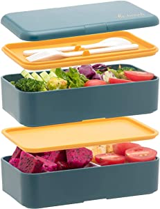 Bento Boxes For Adults Kids, All-in-One Stackable Premium Japanese adult Bento Box Container With Utensil, Durable Eco-Friendly, Micro-Waves & Freezer Safe, 1200ML (Blue)