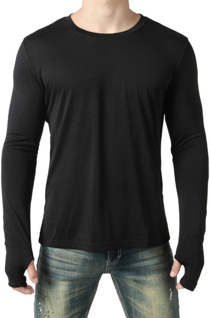WWricotta LuckyGirls Camisetas Hombre Manga Larga Personalidad Conexión de Guantes Color Sólido Casual Slim Fit Camisas Streetwear Sudaderas Chándales Ropa de Casa
