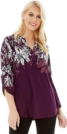Roman Originals - Camisa floral para mujer, diseño de flores, estilo informal, con botones de flores, cuello de 3/4, manga de longitud