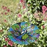 Hanging glass birdbath (peacock design)