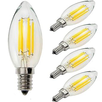 Yiun C35 E14 LED Bombillas para vela 6W, 60W Bombillas incandescentes Equivalente, 4000K,