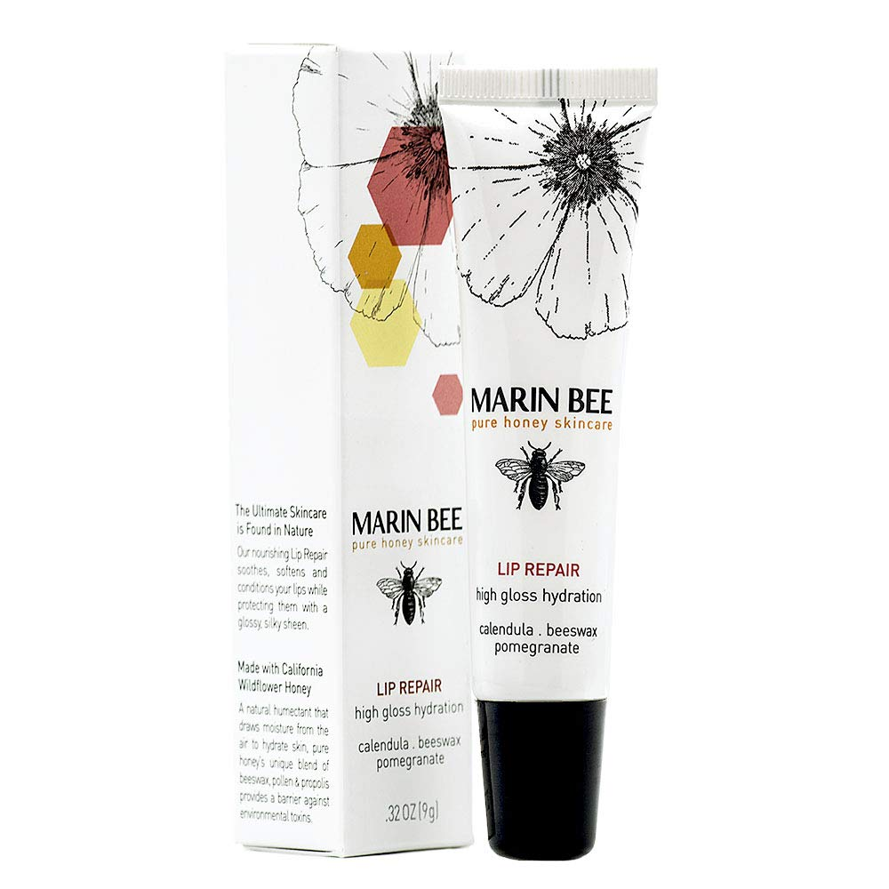 MARIN BEE LIP REPAIR Moisturizing, natural healing power of honey treats dry, chapped lips instantly with shea butter, cocoa butter and pomegranate, silky-smooth with a subtle pink tint
