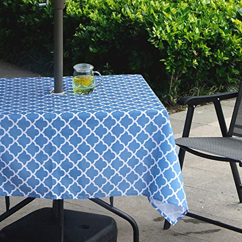 Deuca Heavyweight Wrinkle-Free Stain Resistant Waterproof Outdoor Tablecloth with Umbrella Hole and Zipper,60-Inch-by-84 Rectangle, Seats 6 to 8 People (Large Outdoor Tablecloth)