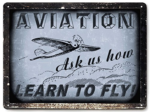 AIRPLANE PILOT CAPTAIN METAL SIGN / great gift RETRO vintage style KIDS boys wall decor art 031