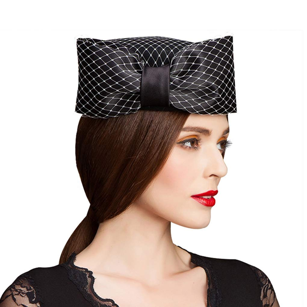 HappyShopDecoration Fascinators Hats for Women Veil Bow Fedoras Ladies Wool Felt Pillbox Hat Church Wedding Hats Black