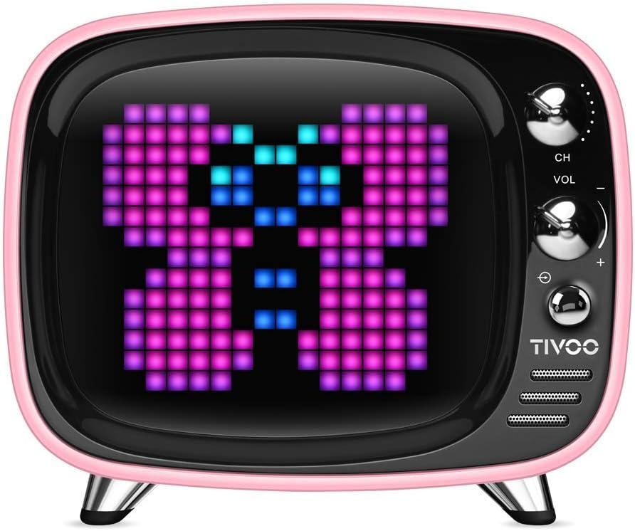 Divoom TIVOO レトロTV型モニター搭載 Bluetoothスピーカー [ ピンク ]